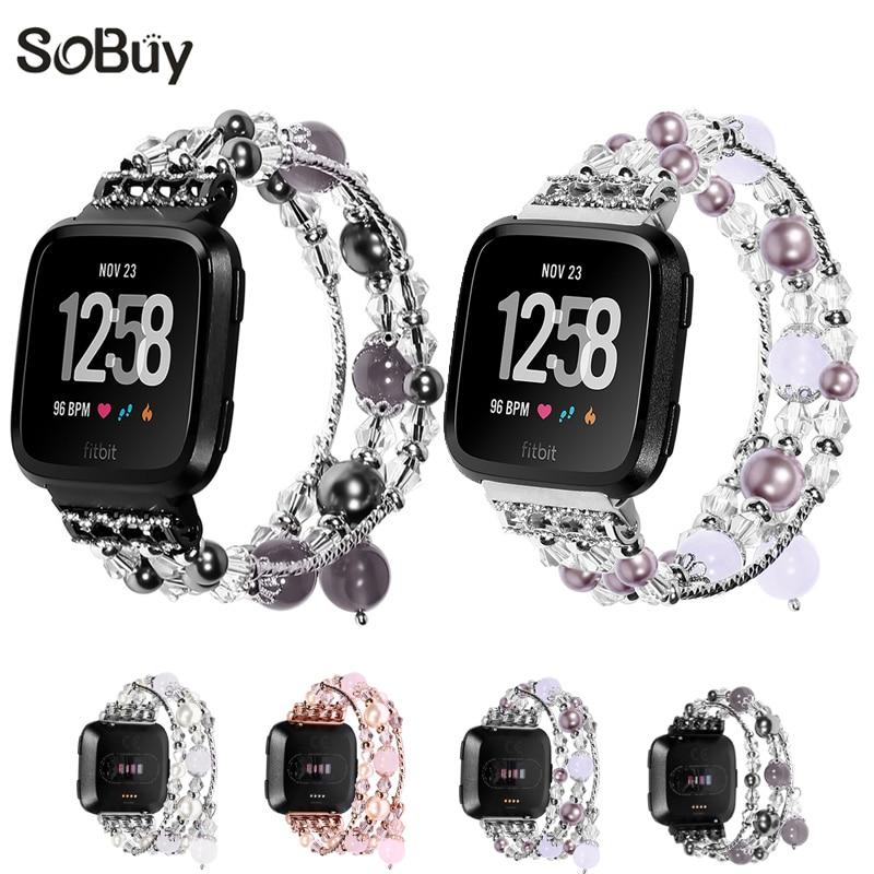 So buy Agate gem band for fitbit versa bracelet versa Ms jewelry metal wristband accessories woman watchband Female wrist strap