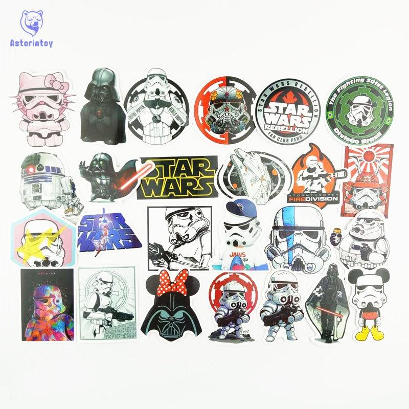 Nuovo 25 pz/lotto Star Wars Darth soldati bianchi Vader Notebook frigorifero di skateboard trolley caso decalcomanie zaino Tavoli SW2
