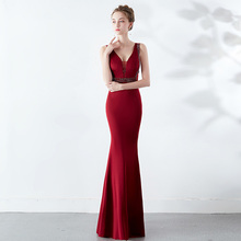D178  deep v-neck sexy summer wine red elegant beading floor length women long dress