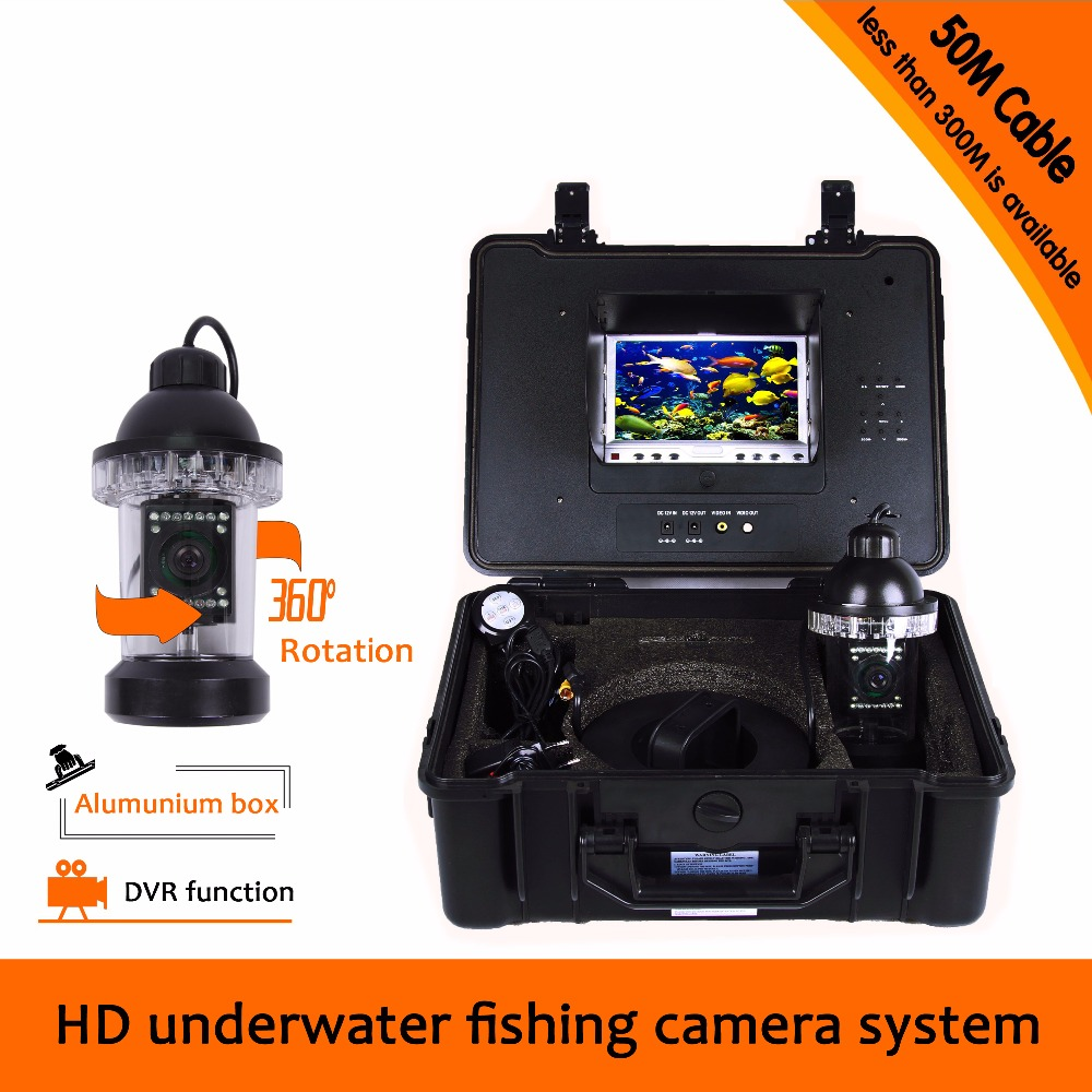 (1 set)50M Cable Panning camera system DVR Function Underwater fishing camera 360 degree rotation Camera 8G Card gift Free ship 360 degree rotaton under water 50m dvr fishing camera av handheld endoscope