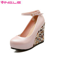 Summer Soft PU Pink Wedding Shoes Round Toe 9.5 CM Wedges High Heel Woman Pumps Ankle Strap White Dating Women Platform Shoes