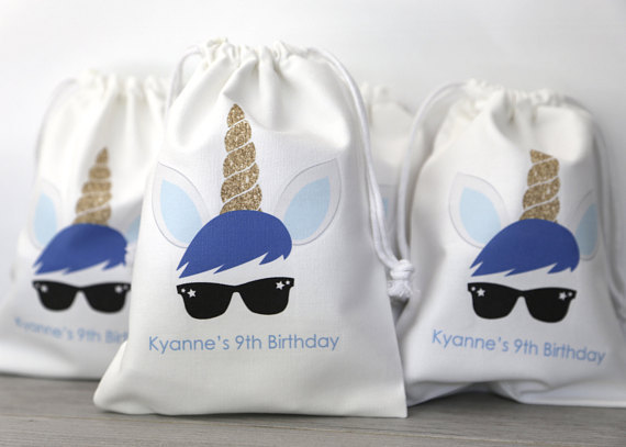 Personalized Goodie Bags Boy Unicorn Kids Birthday Party Candy Pouches Thank You Baby Shower Baptism Favors Gift