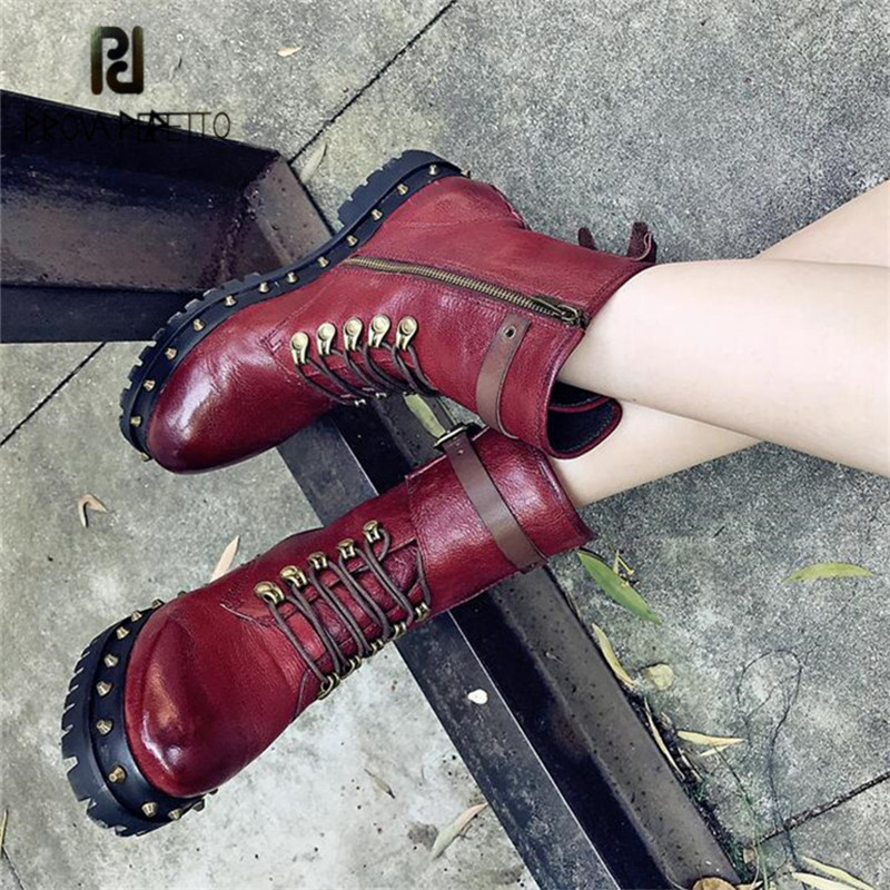 Prova Perfetto Fashion Rivets Studded Women Ankle Boots Punk Style Autumn Winter High Boots Female Platform Rubber Botas Mujer