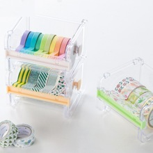 1 Pcs Cute Simple Creative Transparent Adhesive Tape Dispenser Office Desktop Tape Holder With Tape Cutter