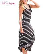 Summer Sexy Ladies Casual Dress Fashion Style Women Striped Boho Long Maxi Sleeveless Beach Vest Dress Vestidos Plus Size XL