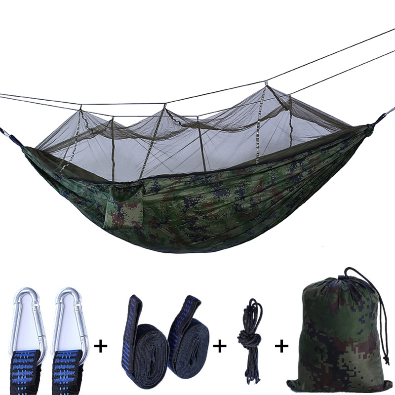 Two-person Camping Hammock with Mosquito Net Outdoors Portable Hanging Hammock Ultralight Garden & Hunting Hammock Tent недорого