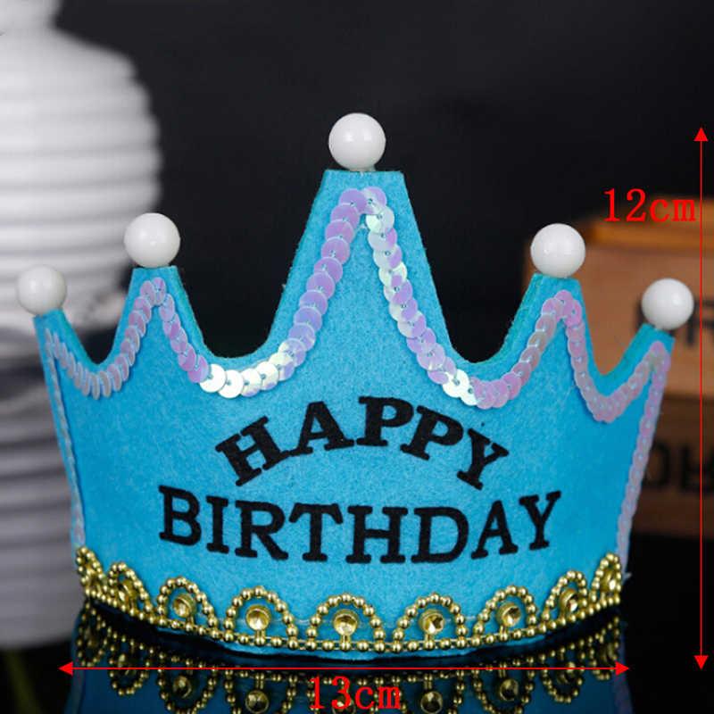 เด็ก Princess Crown Happy วันเกิดกระพริบ LED เรืองแสงหมวกหมวกผ้าพันคอหมวกผู้ใหญ่หมวกเด็กตกแต่ง Party