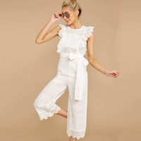 KIYUMI Jumpsuit Women White Rompers Womens Jumpsuit Sleeveless Sashes2019 nt Lace Embroidered With Lining Cotton Jumpsuits