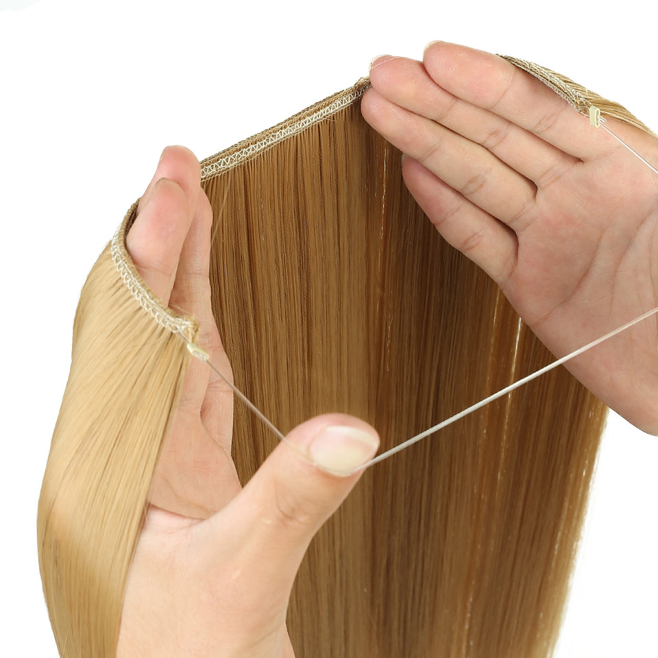 AOSIWIG Långt hår Fisklinje Vågigt hårförlängningar Hemliga - Syntetiskt hår - Foto 3