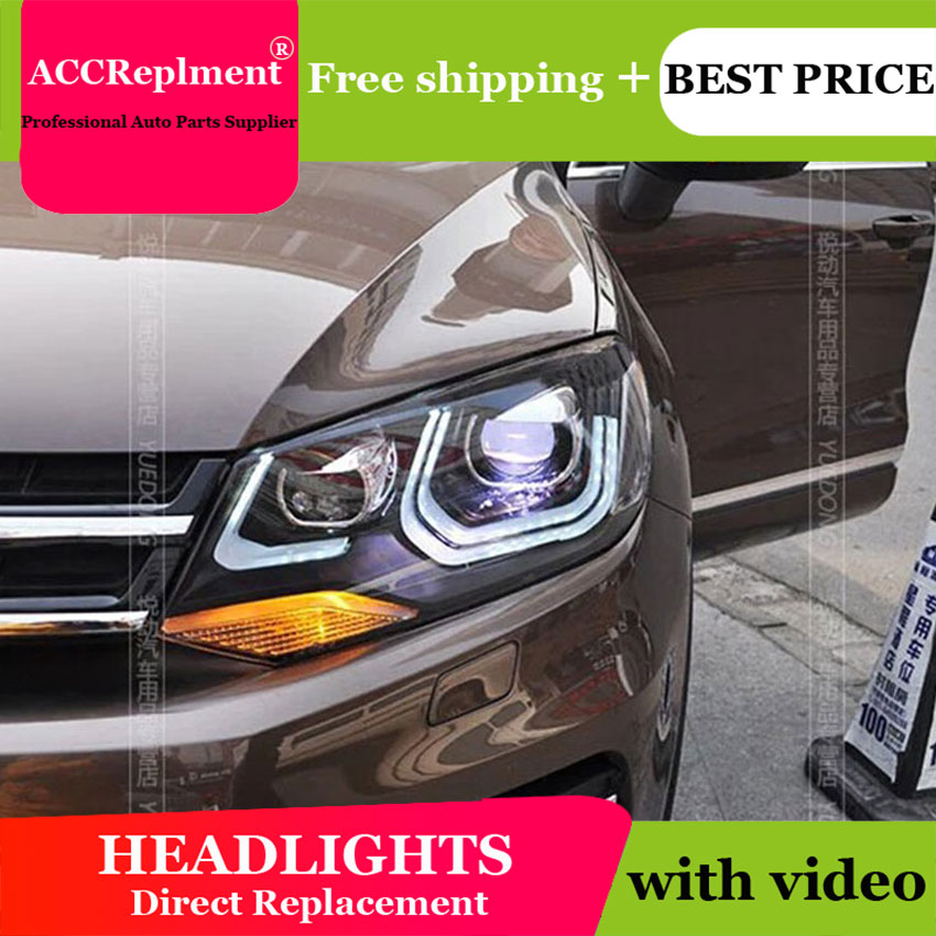 AUTO PRO headlights for vw touareg 2011 2014 car styling bi xenon lens LED light guide