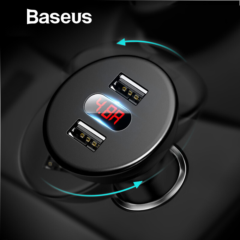 Baseus Car Charger for Mobile Phone LED Digital Display Dual USB Car Phone Charger for iPhone X Samsung Tablet Travel AdapterBaseus Car Charger for Mobile Phone LED Digital Display Dual USB Car Phone Charger for iPhone X Samsung Tablet Travel Adapter