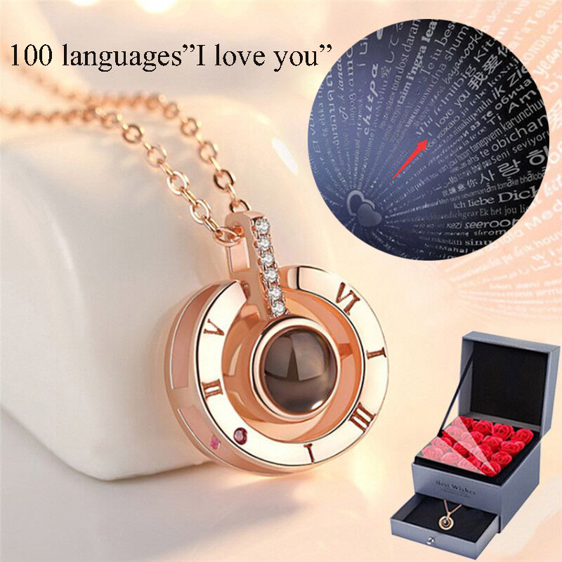 Amxiu 925 argent Sterling chiffres romains collier personnalisé 100 langues je t'aime Projection pendentif collier pour les femmes de mariage