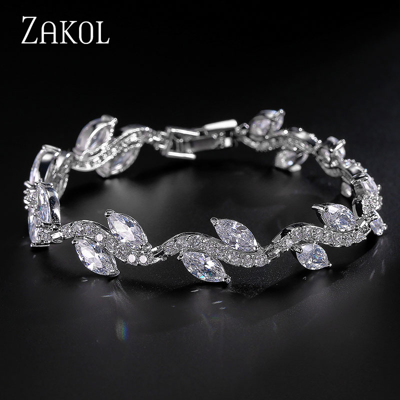 ZAKOL Sparkling! White Color High Quality AAA+ CZ Zirconia Strand Tennis Bracelet for Women Fashion Leaf Summer Jewelry FSBP066