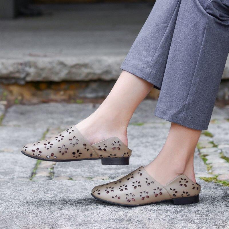 Mano De Las Solo Huecos A Superior Mujer Apricot Artística Hecho Sandalias Planos Cuero Shallow Zapatos Capa Cómodos Mujeres Hq45WwcR