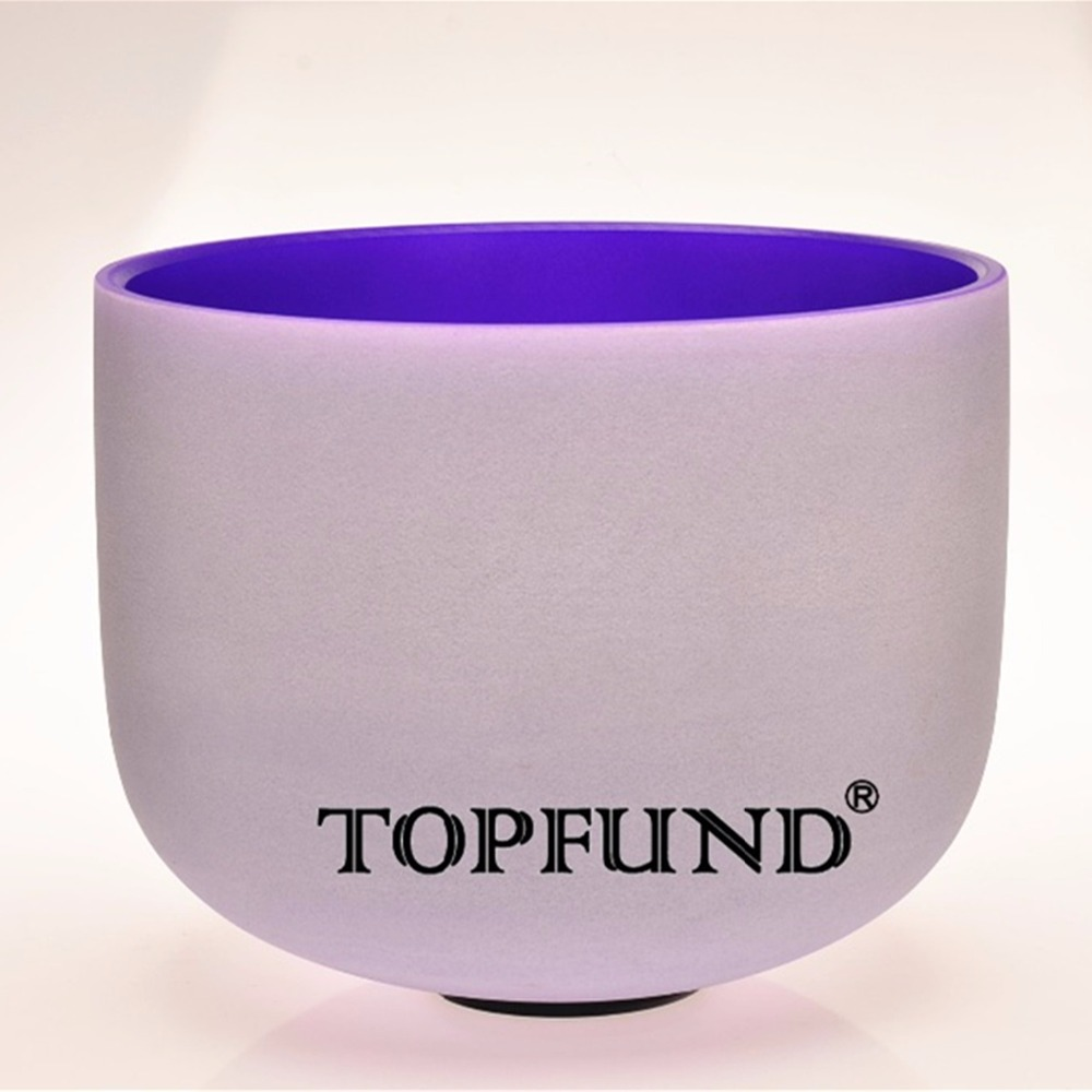 TOPFUND Purple Colored Frosted Quartz Crystal Singing Bowl 432HZ Tuned B Crown Chakra 10 With Free Mallet and O-Ring topfund red color perfect pitch c adrenals chakra frosted quartz crystal singing bowl 10 with free mallet and o ring