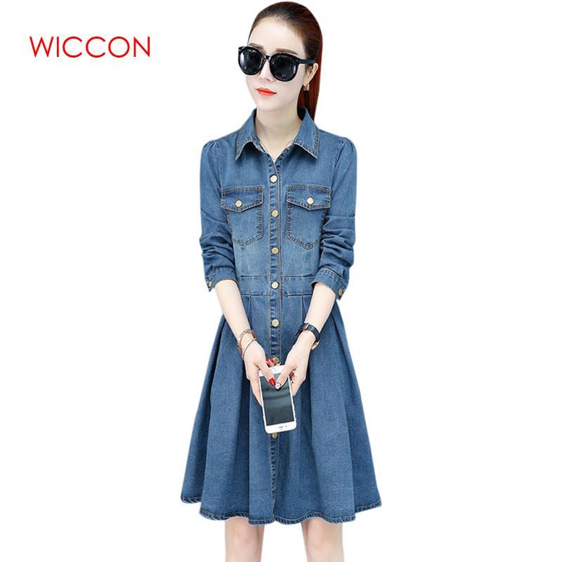 2019 Long Sleeve Denim Dress New Spring Korean Style Slim Fashion Long Length A Line Solid Clothing Women's Dress