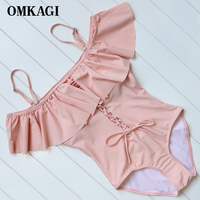 OMKAGI Brand Solid One Piece Swimsuit Swimwear Women Off Shoulder Sexy Push Up Bodysuit Swimming Suit