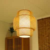 Handmade bamboo chandelier Hotel Restaurant light decorative lamps rattan woven chandelier lamps wl3231448