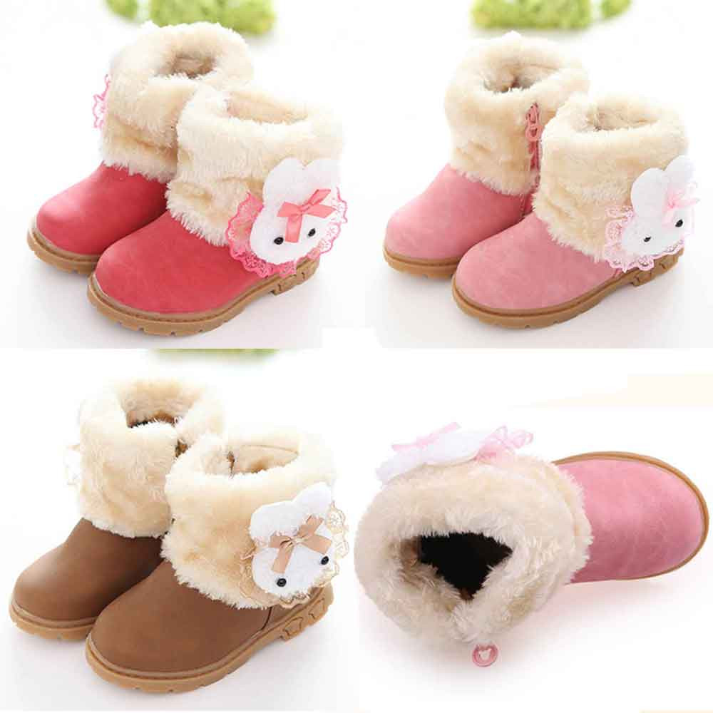 New Winter Plush Warm Bow Fashion Girl Snow Boots Kids Soft Bow Cute Girls Shoes Size 21-30 Children Shoes