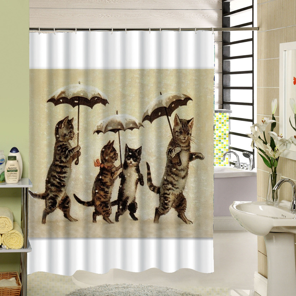 Shower Curtain Polyester Cloth Waterproof Moldproof Cartoon Tape ...