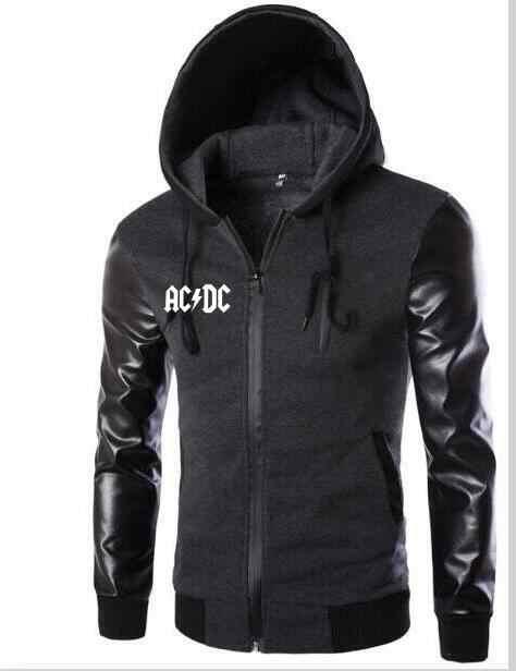 2019 аниме-Толстовка мужская ACDC кожаный рукав толстовка мужская повседневная Уличная рубашка для похудения с капюшоном спортивная куртка одежда