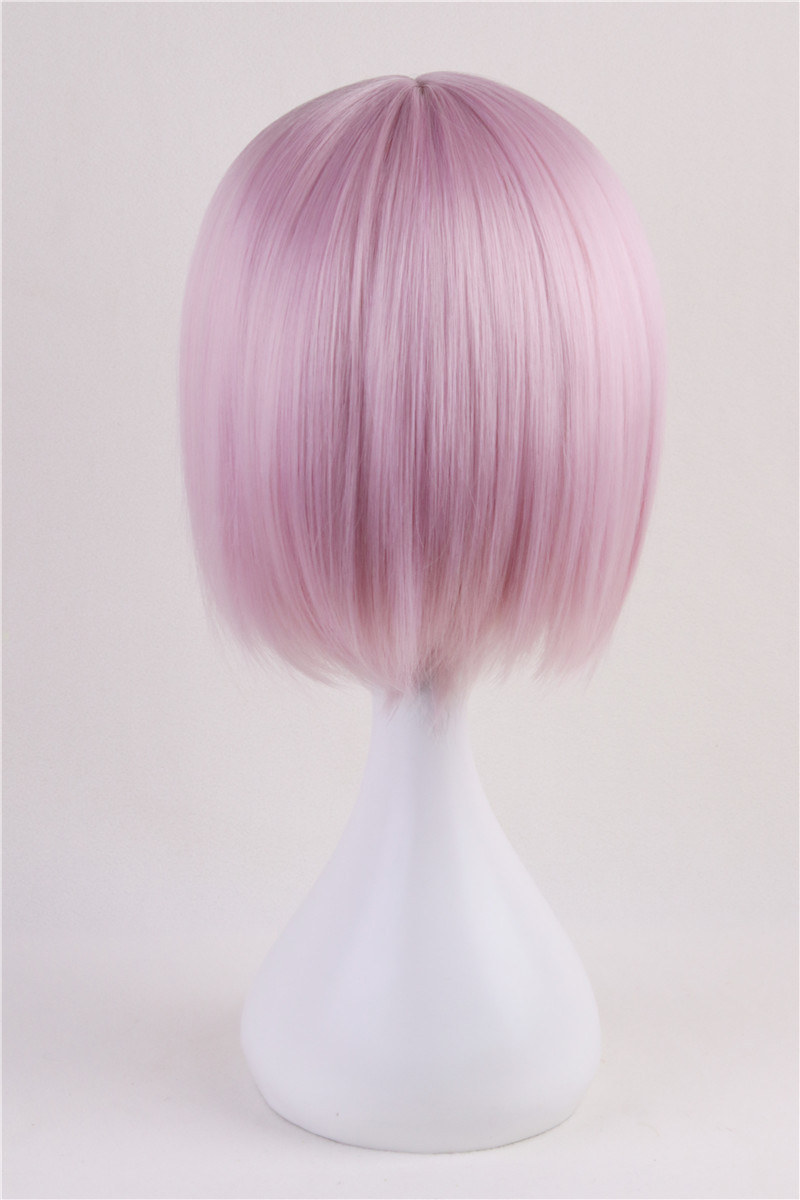 Fate/Grand Order Mash Kyrielight Cosplay Costume Accessory Short Light Pink Bangs Bob Women Girls Party Party Hair