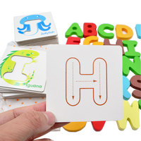 Kids Toys English Cards Educational Wooden Puzzle Early Learning Letters Alphabet Cards For Children Games