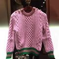 EXCELENTE CALIDAD de La Manera 2017 Diseñador Suéter Bloque de Color de Punto Suéter de Lana de Manga Larga de Las Mujeres