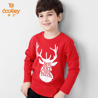 Dolley Merry Christmas Boy Fashion T-shirt New Arrival Children Red Tops Long Sleeve Clothing 3 Colors Size 130-175 cm
