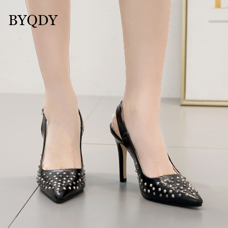 BYQDY Classic Fashion Flock Buckle Strap Shoes Ladies Sexy Pointed Toe Pumps Rivet Black Heels Shoes Women zapatos de mujer