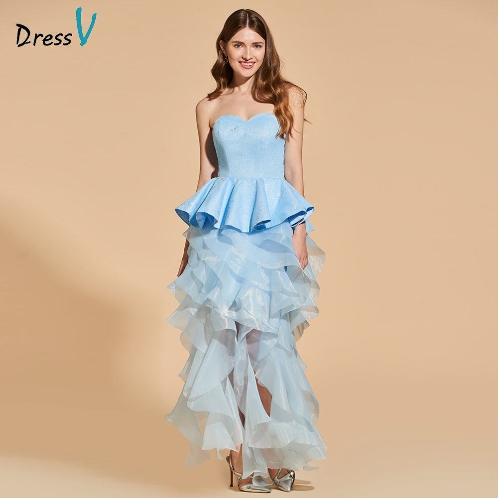 Dressv blue   cocktail     dress   elegant sweetheart neck tea length zipper up sheath wedding party formal   dress     cocktail     dresses