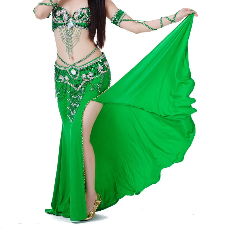 High Quality Sexy Professional Women Belly Dance Costume With Slit Modal Cotton Skirt Dress Solid Colour Dress H