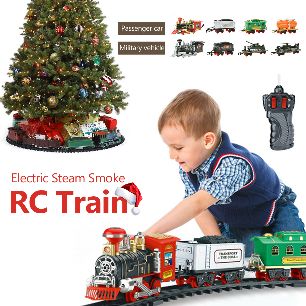 Electric Remote Control Simulation Rail Train Chargeable Steam RC Tracks Car Smoking Model Kids Christmas Gift