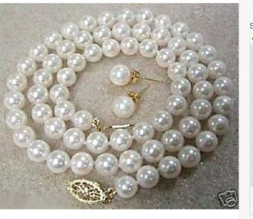 classic 9-10mm freshwater round white pearl necklace & earring 14k gold setclassic 9-10mm freshwater round white pearl necklace & earring 14k gold set