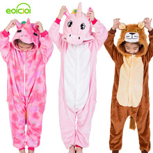 Купить с кэшбэком Flannel Kids Animal Pajamas For Boys Girls Cute Unicorn Lion Pegasus Cosplay Winter Hooded Children Sleepwear Christmas Pyjamas