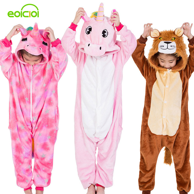 Flannel Kids Kigurumi Pajamas Boys Girls Cute Unicorn Lion Pegasus Cosplay Winter Hooded Children Sleepwear Christmas Pyjamas
