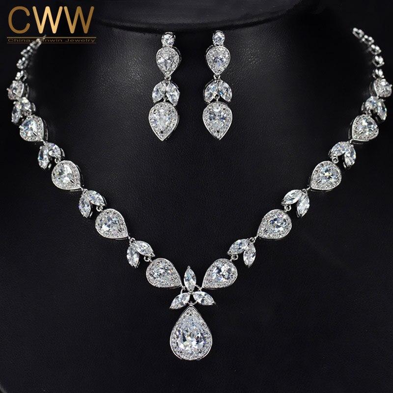 Exquisite Design White Gold Color Luxury Pear Drop Zirconia Bridal ...