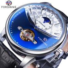 Forsining الكلاسيكية الأزرق القمر المرحلة ساعات آلية توربيون التلقائي الرجال جلد طبيعي ساعة Relogio Masculino دروبشيب