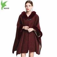 2018 Autumn winter women woolen cloak coat fashion Fur collar Hooded shawl Bat sleeve Loose female Cardigan jackets OKXGNZ 1876