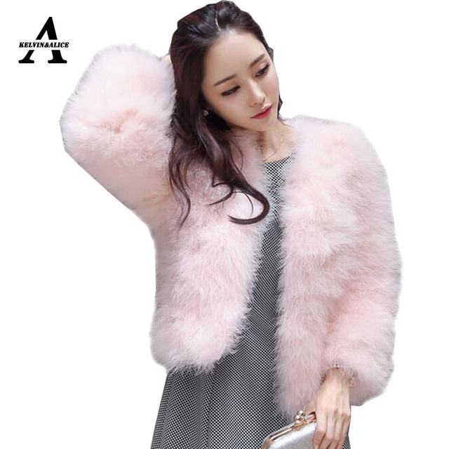 Natural 100% Ostrich Fur Coat Short Sexy Feather Jacket New Imported Turkey Fur Warm Long Sleeve Thick Wool Jacket 13 Color