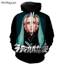 American Singer Billie Eilish 3D Print Jacket Men/women Long Sleeve Sweatshirts Youth Punk Hoodie New Creative Black Tracksuit