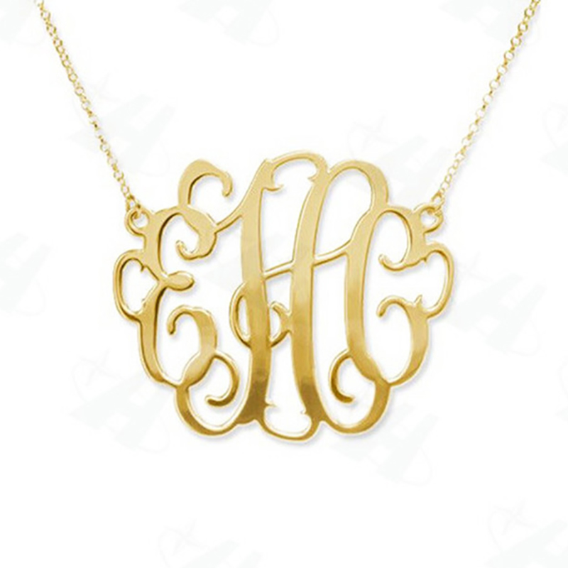 Custom Monogram Necklace Fashion Bold Statement Initial Letter Pendant Necklace, Gold-Color Necklace for Women,Colares Femininos