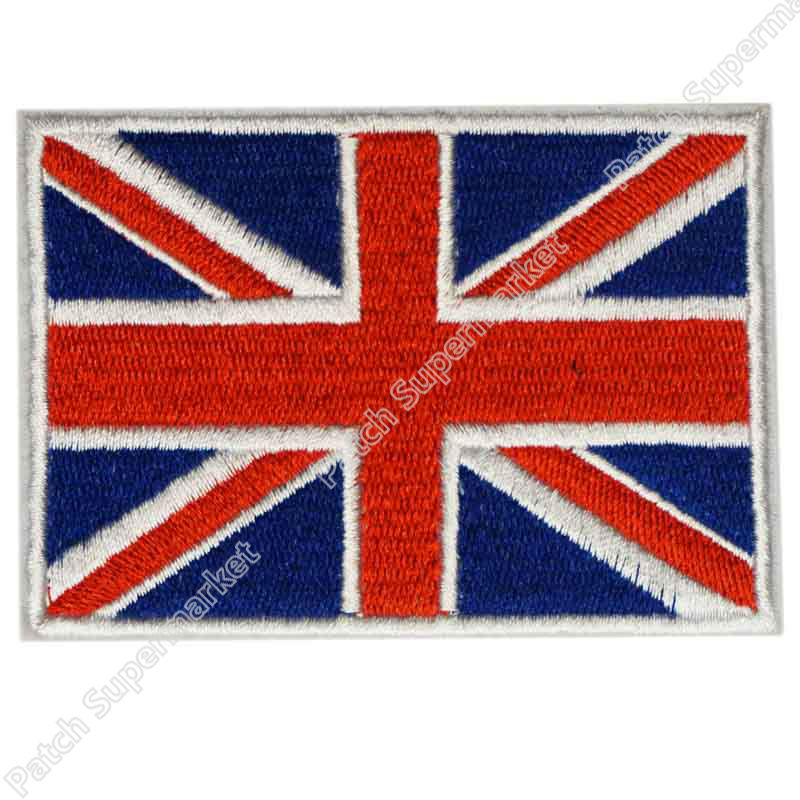 PINK BRITISH FLAG iron-on PATCH UNION JACK ENGLAND UK embroidered GREAT BRITAIN