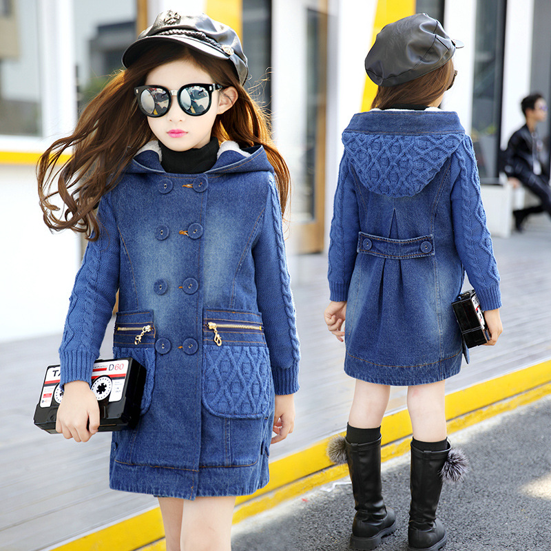 Hurave New Cowboy Knitting Girls Winter Coat For Kids Girls Casual Style Outwear Girl Warm Fleece Inner Children Jacket