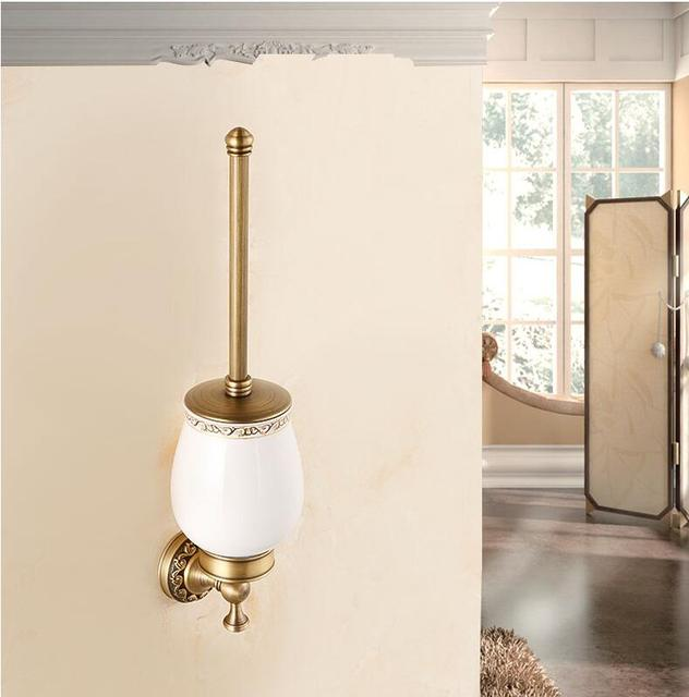 European Luxury Bathroom Accessories Antique Bronze Toilet Brush Holder Bath  Products High Quality Free Shipping