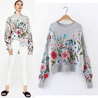 2018 Winter Runway Cashmere Women Sweaters and Pullovers Designer Flora Embroidery Vintage Knitted Jumpers Ladies Tops Clothing