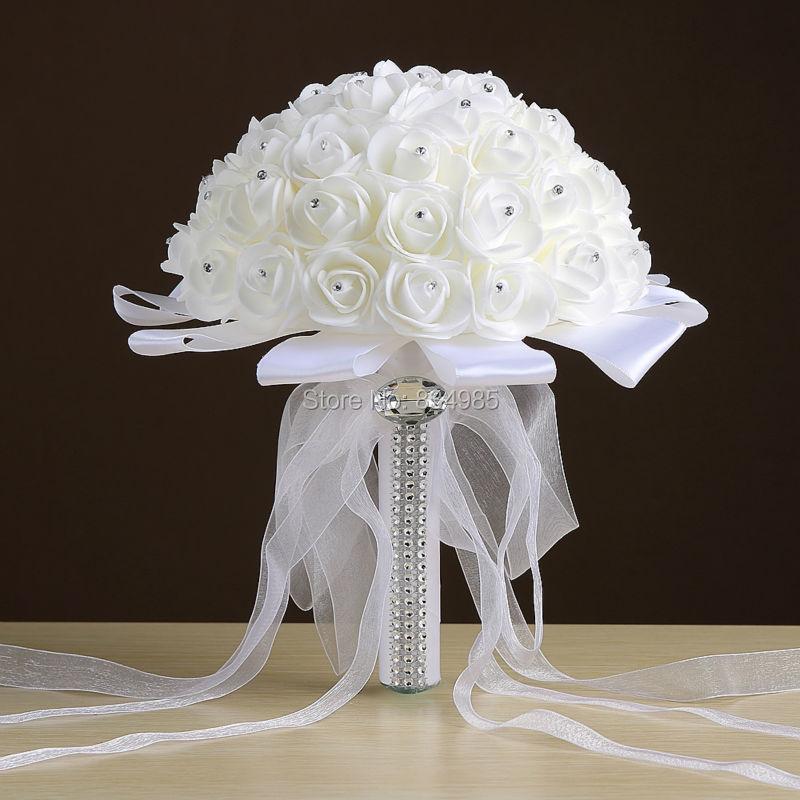 Cheap White Wedding Bouquet Bridal Bridesmaid Brooch Bouquet