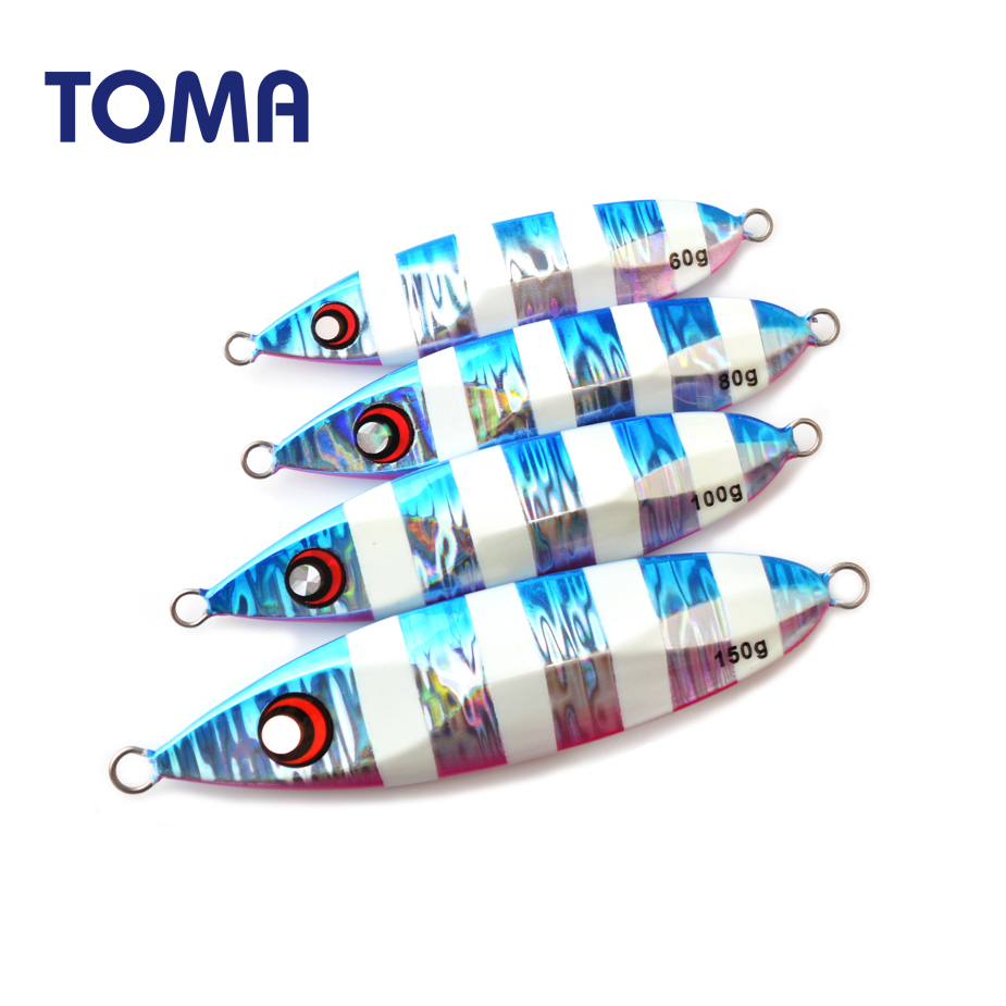 TOMA Lead Metal Luminous Fishing Jig 60G 80G 100G 150G Slow Pitch Jigging Lure Spoon Saltwater Artificial Bait Tackle