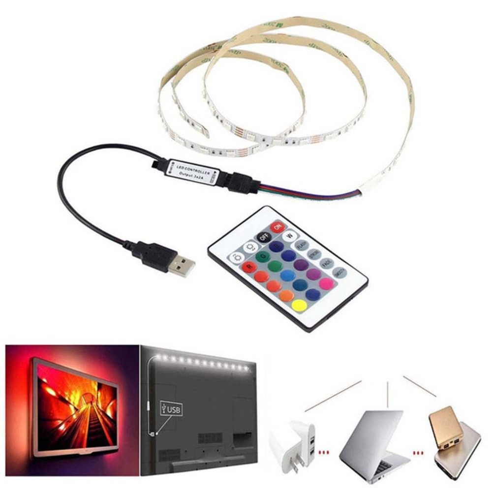 USB LED Strip Light 24 Colors Changing String Tape Ribbon Waterproof RGB LED TV Backlight With Remote Controller