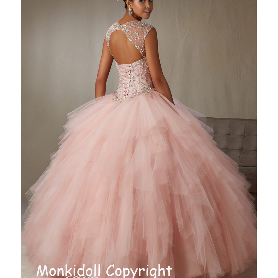 Modern Sky Blue Quinceanera Dresses Beaded Corset Tulle Ball Gown ...